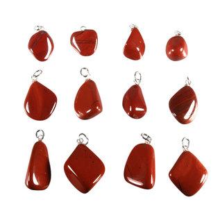 Jaspis (rood) hanger met zilveren oogje