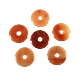 Aventurijn (oranje/rood) hanger donut 3 cm