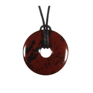 Obsidiaan (mahonie) hanger donut 3 cm