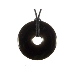 Obsidiaan (zwart) hanger donut 3 cm