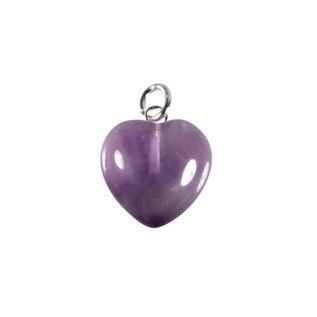 Amethist hanger hart 15 mm met zilveren oogje