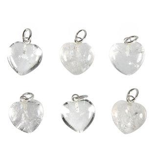 Bergkristal hanger hart 15 mm met zilveren oogje