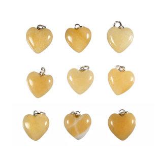 Calciet (oranje) hanger hart 15 mm met zilveren oogje