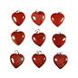 Jaspis (rood) hanger hart 15 mm met zilveren oogje