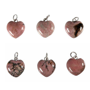 Rhodoniet hanger hart 15 mm met zilveren oogje
