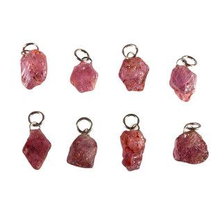 Saffier (roze) hanger ruw
