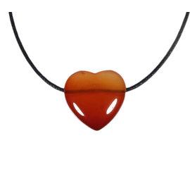Carneool hanger hart klein doorboord