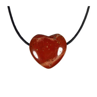 Jaspis (rood) hanger hart klein doorboord