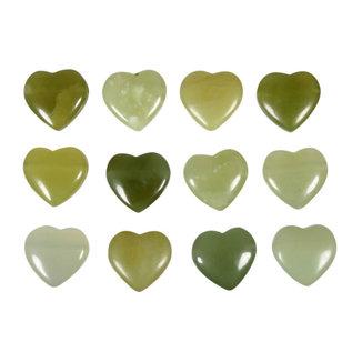 New jade (serpentijn) hanger hart klein doorboord