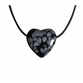Obsidiaan (sneeuwvlok) hanger hart klein doorboord
