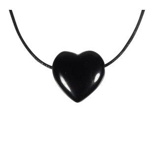 Obsidiaan (zwart) hanger hart klein doorboord