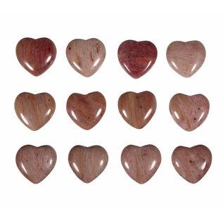 Rhodoniet hanger hart klein doorboord