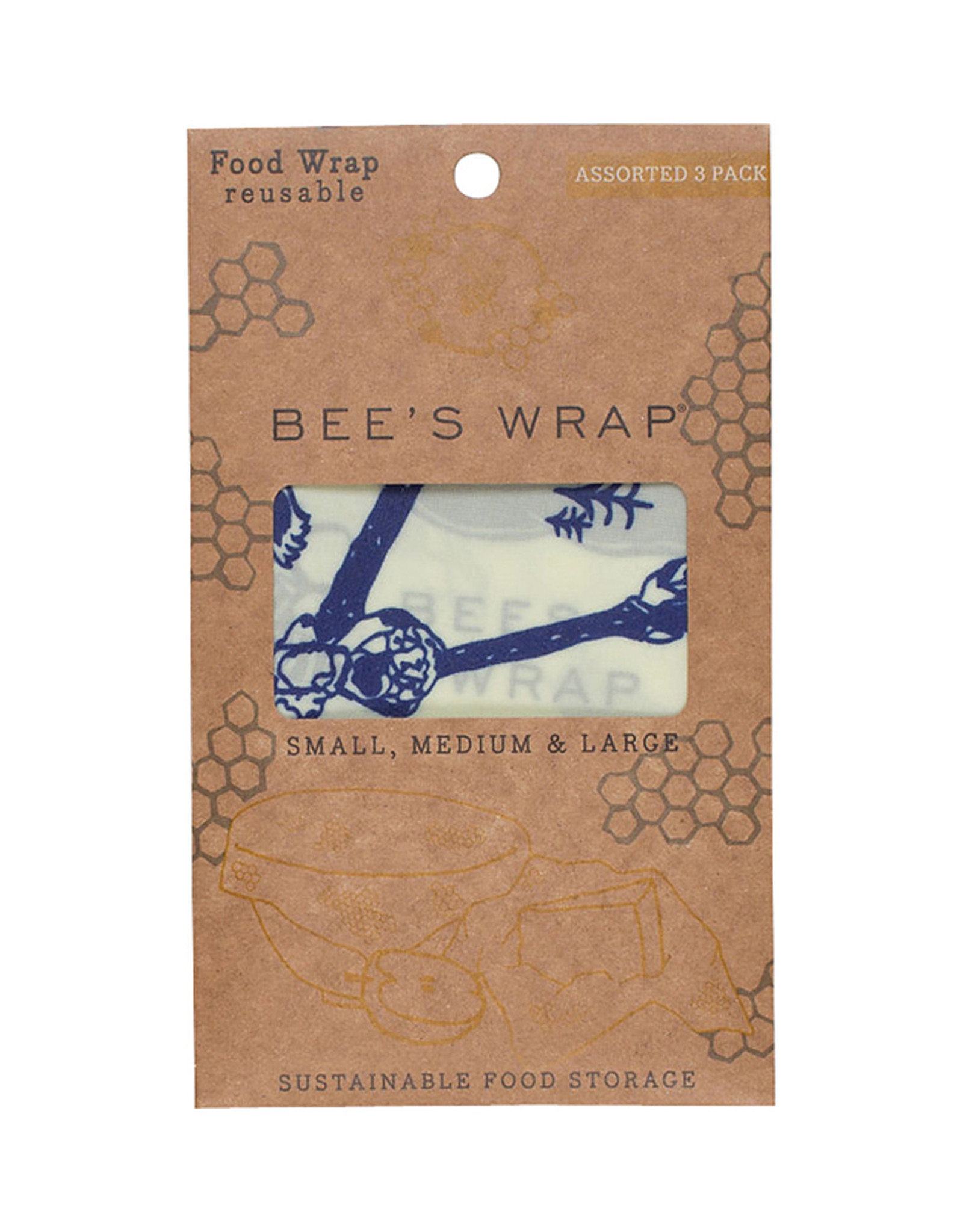 Bee's Wrap Bee's wrap - Assorted Bees & bears (set of 3)