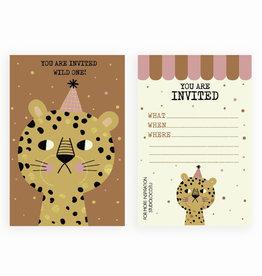 STUDIOLOCO Uitnodigingen verjaardag (set van 6) - Luipaard