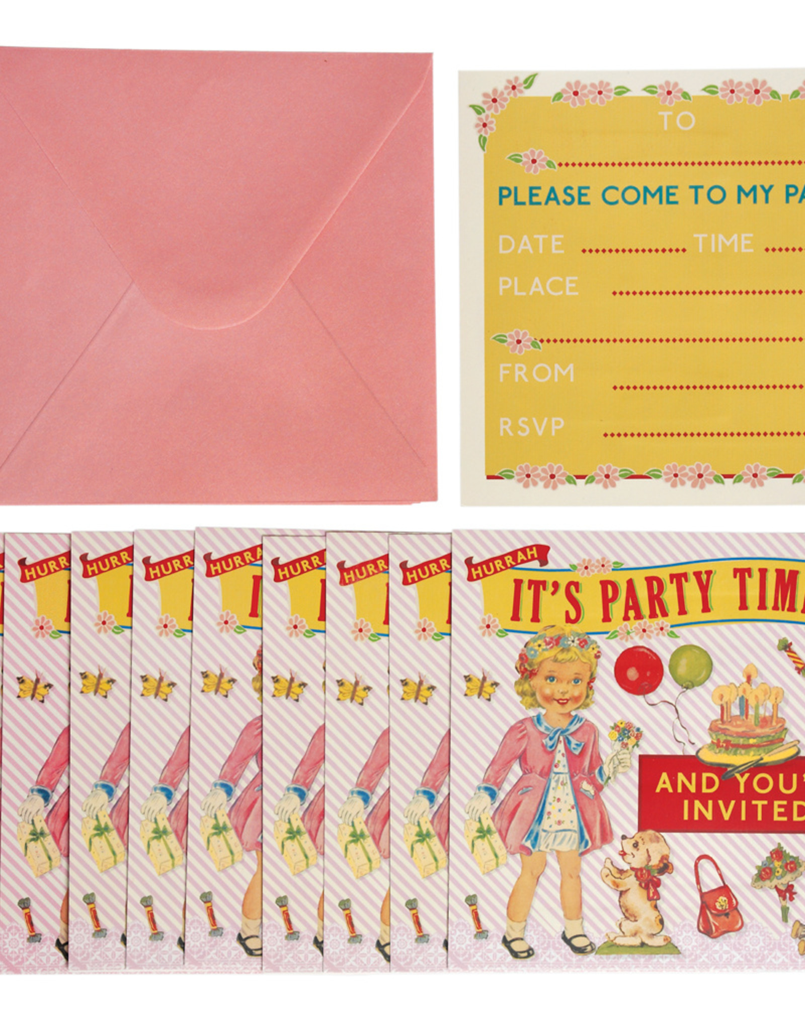 Rex London Uitnodigingen verjaardag (set van 10) - Dress up dolly