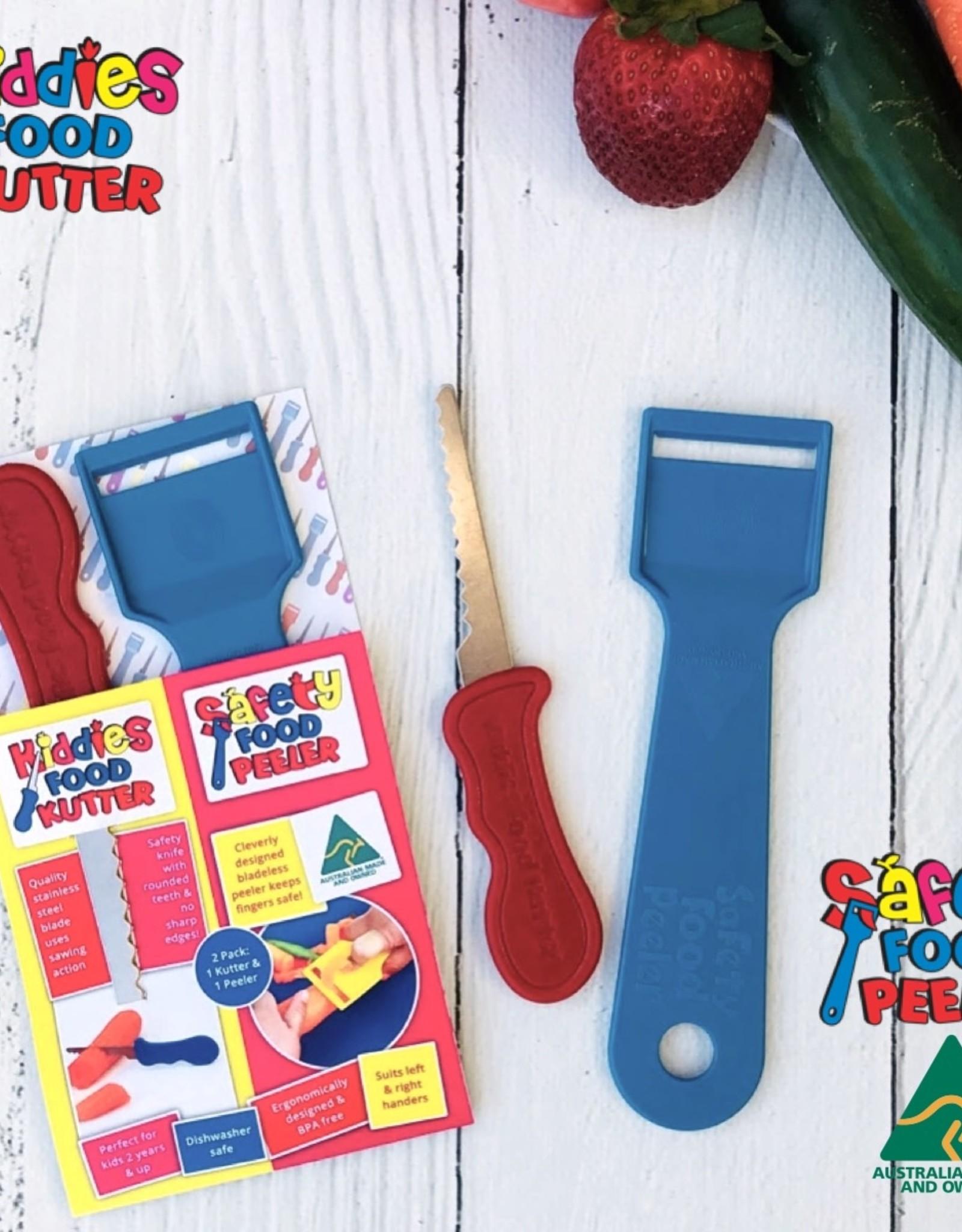 Kiddies Food Kutter Kiddies duo pack: mes + schiller - Blauw