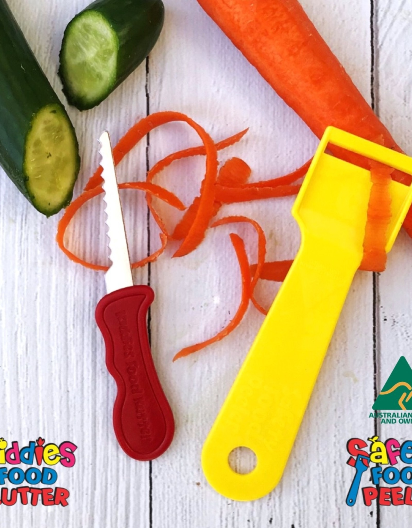 Kiddies Food Kutter Kiddies duo pack: mes + schiller - Geel