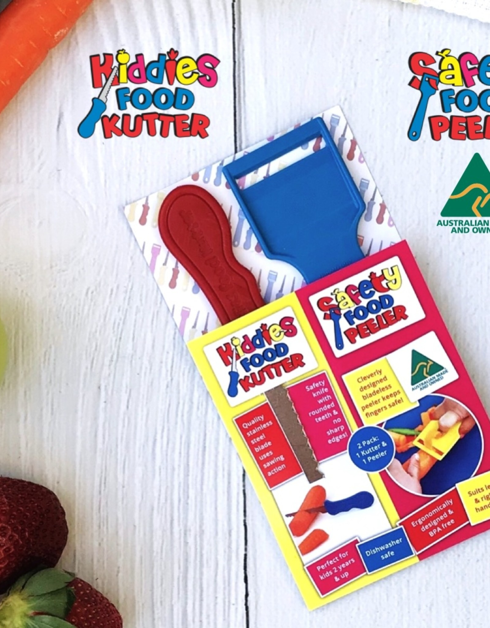 Kiddies Food Kutter Kiddies duo pack: mes + schiller - Rood