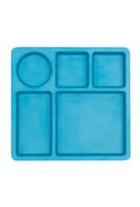 bobo & boo Bamboe bord met vakjes - Dolphin blue