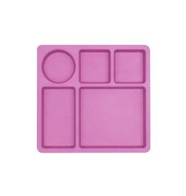 bobo & boo Bamboe bord met vakjes - Flamingo pink