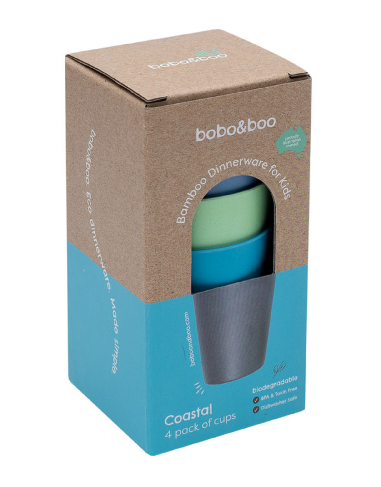 bobo & boo Bamboe beker set - Coastal blue