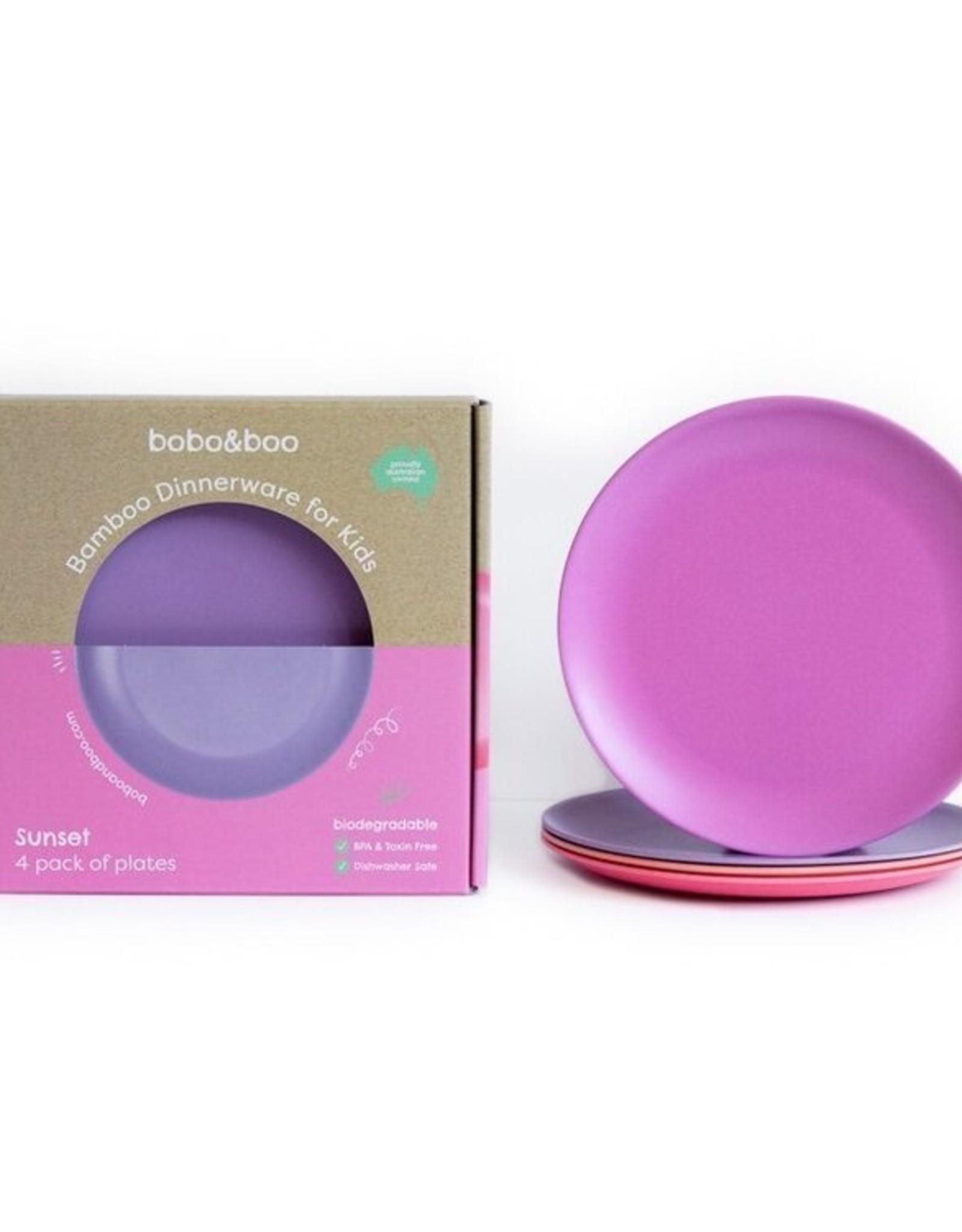 bobo & boo Bamboe borden set GROOT - Sunset pink