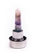Luvo Fles Glazen drinkfles met kristal -  Rainbow Fluorite 550 ml