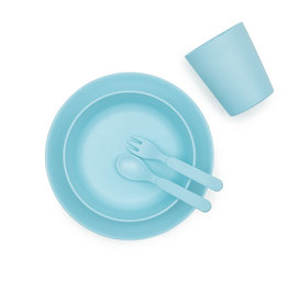 bobo & boo Bamboe dinner set - Pacific blue