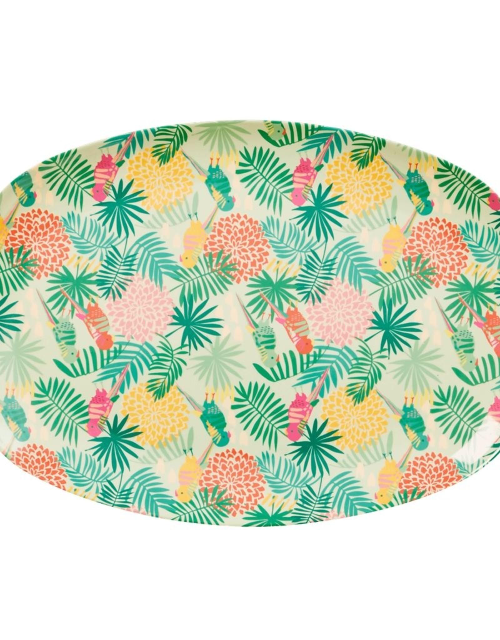 Rice Langwerpig melamine bord - Tropical print