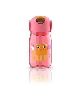 Zoku Drinkfles kids flip met rietje 415 ml - Rood