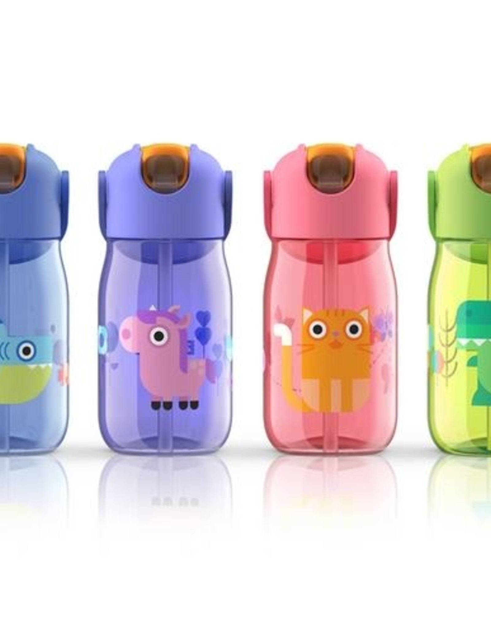 Zoku Drinkfles kids flip met rietje 415 ml - Roze