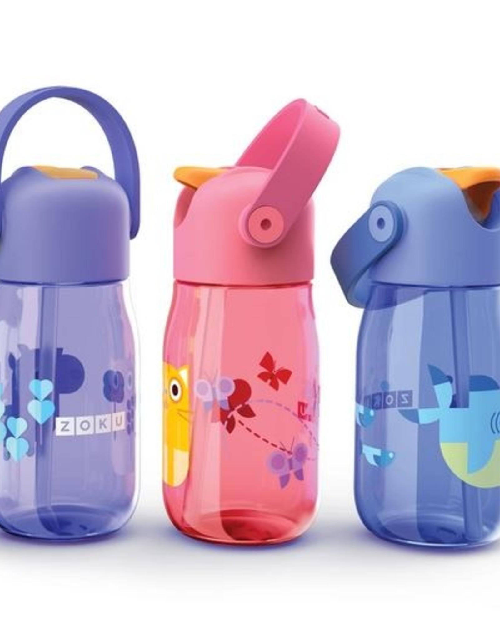 Zoku Drinkfles kids flip met rietje 415 ml - Blauw