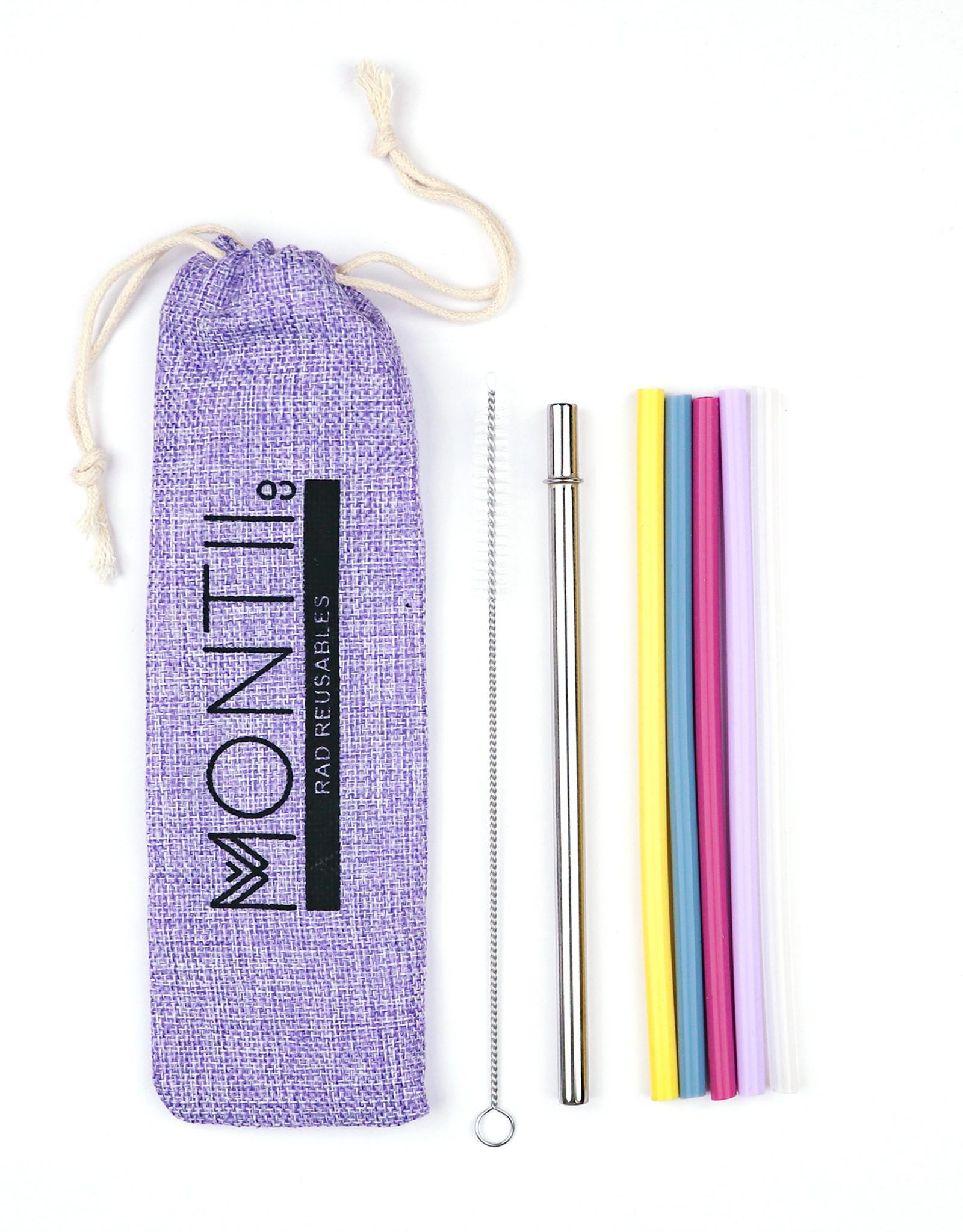 Montii Mini rietjes (set van 5 silicone +  1 RVS) - Mellow