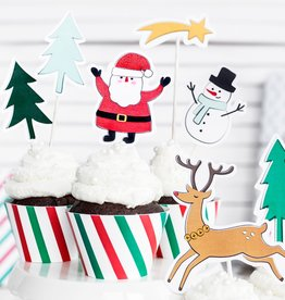 Cake toppers Merry Xmas - Set van 7