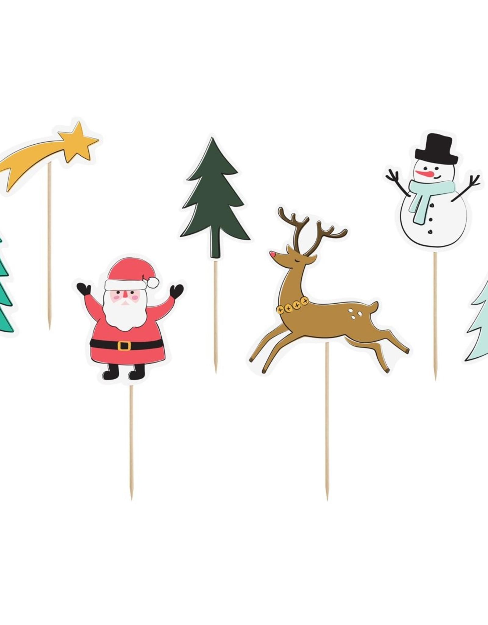 Cake toppers Merry Xmas - Set van 7