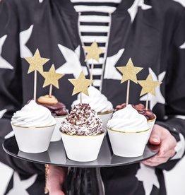 Cake toppers gouden sterren - Set van 6