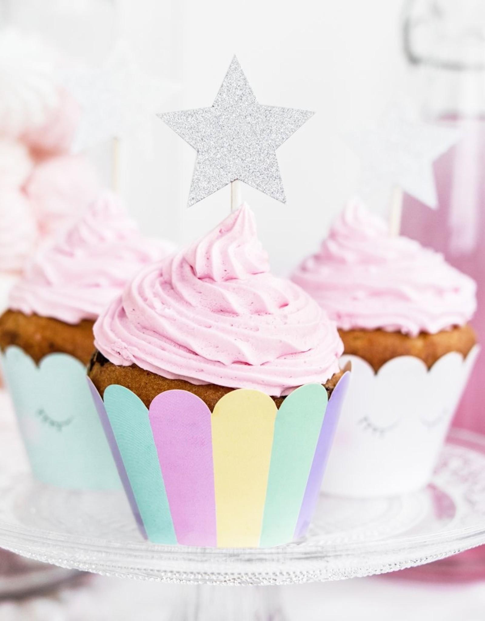 Cake toppers zilveren sterren - Set van 6
