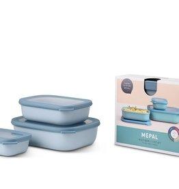 Mepal Multikom Cirqula rechthoekig 3-delige set (500+1000+2000 ml) - Nordic blue