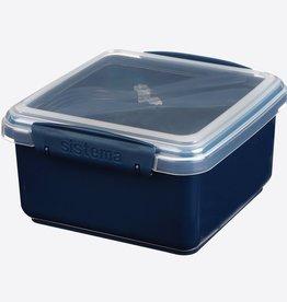sistema Sistema Renew lunchbox met bestek Lunch Plus 1.2L - donkerblauw