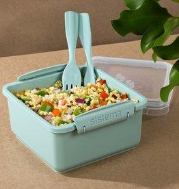 sistema Sistema Renew lunchbox met bestek Lunch Plus 1.2L - Lichtblauw