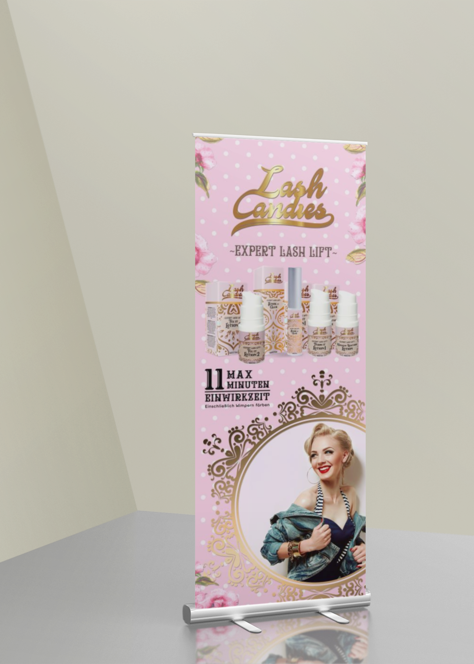 Lash Candies® Roll up Banner 85 x 200 cm Schulung