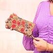 Große Portemonnaie - Rote Blumen
