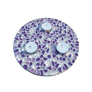 Cristallo Mosaik Bastelset Teelichthalter Weiss-Lila-Violett