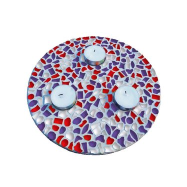 Cristallo Mosaik Bastelset Teelichthalter Rot-Weiss-Lila