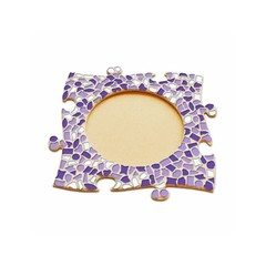 Cristallo Mosaikbastelset Bilderrahmen Kreis Weiss-Lila-Violett