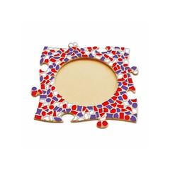 Cristallo Mosaikbastelset Bilderrahmen Kreis Rot-Weiss-Lila