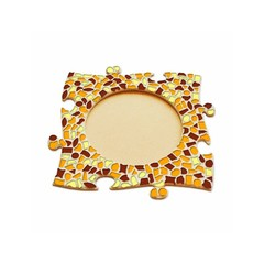 Cristallo Mosaikbastelset Bilderrahmen Kreis Braun-Orange-Gelb