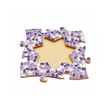 Cristallo Mosaik Bastelset Bilderrahmen Stern Weiss-Lila-Violett