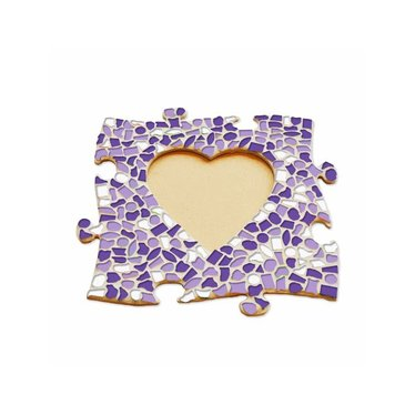 Cristallo Mosaik Bastelset Bilderrahmen Herz Weiss-Lila-Violett