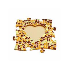 Cristallo Mosaikbastelset Bilderrahmen Herz Braun-Orange-Gelb